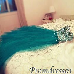 Cute sweetheart strapless green tulle princess long junior prom dresses