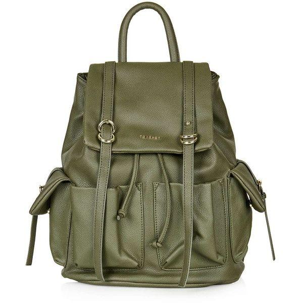 TOPSHOP Edinburgh Backpack found on Polyvore featuring bags, backpacks, purses, khaki, green backpack, topshop, pu backpack, rucksack bag e topshop backpack