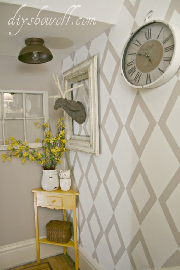 Stencil with Frog tape: Wall Pattern, Decor Ideas, Wall Idea, Stairwell Landing, Corner Table, Paint, Diy, Accent Walls, Room