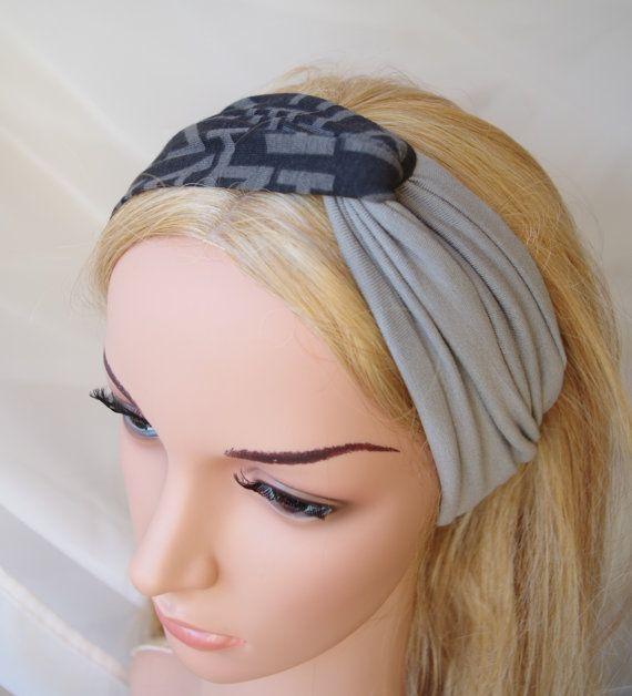 Turban Twist Headband Gray  and Gray  Geometric by StarJasmine33