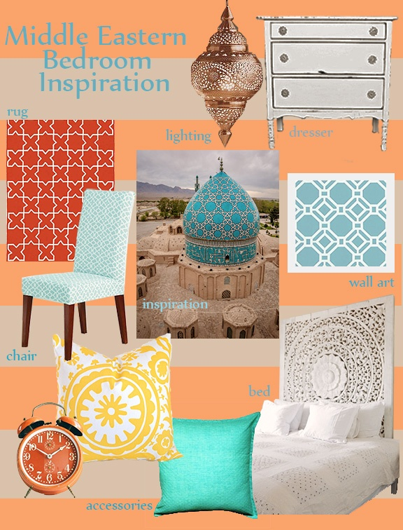 Middle Eastern Bedroom Inspiration Board By @Grace Palko. #MiddleEast #Bedroom This girl sure knows her designs!
