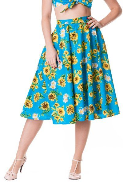 Sunrise Sunflower Swing Skirt by Hell Bunny