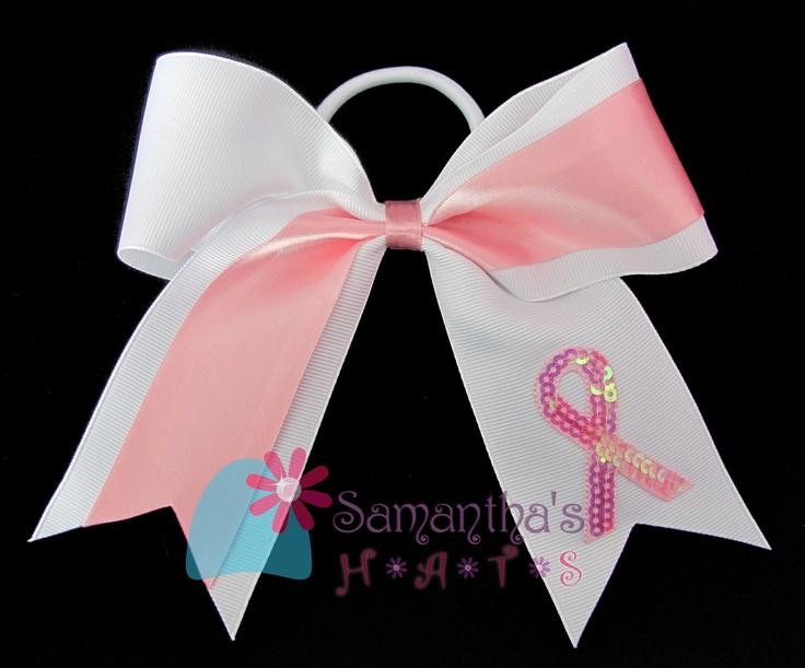 Glamorous Custom Breast Cancer Awareness Cheerleader Hair Bow. $7.00, via Etsy.