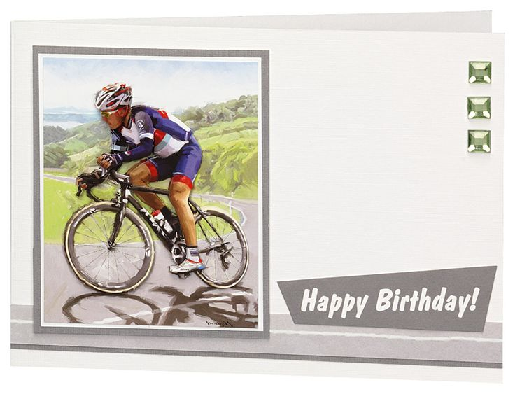 Handmade cycling card using products from Craft Creations Ltd. Card made by Jenny Kearley.