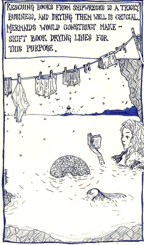 Mermaid and books: