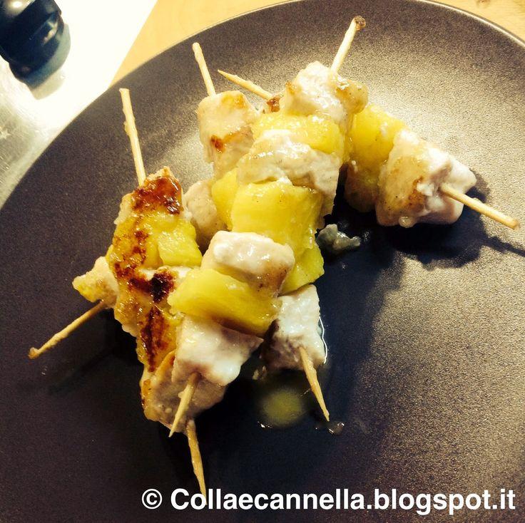 """Colla&Cannella: """"Spiedini di pollo e anans caramellati al miele"""""""