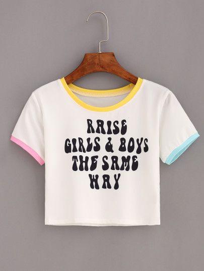 Camiseta ribete combinado letras crop -blanco