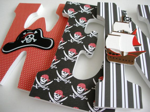Custom Decorated Wooden Letters PIRATE Theme- Nursery Bedroom Home Décor, Wall Decorations, Wood Letters, Personalized