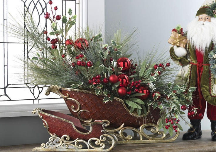 Best images about holiday sleigh centerpieces on