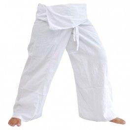 Pantalones de pescador Thai - blanco - algodón