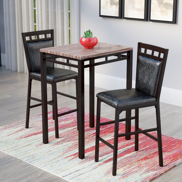 Add The Perfect Place To Enjoy A Drink With A Friend Or A Relaxing Sunday Brunch With This Elegant Three Piece Pub Ta Pub Table Sets Pub Table Bistro Table Set
