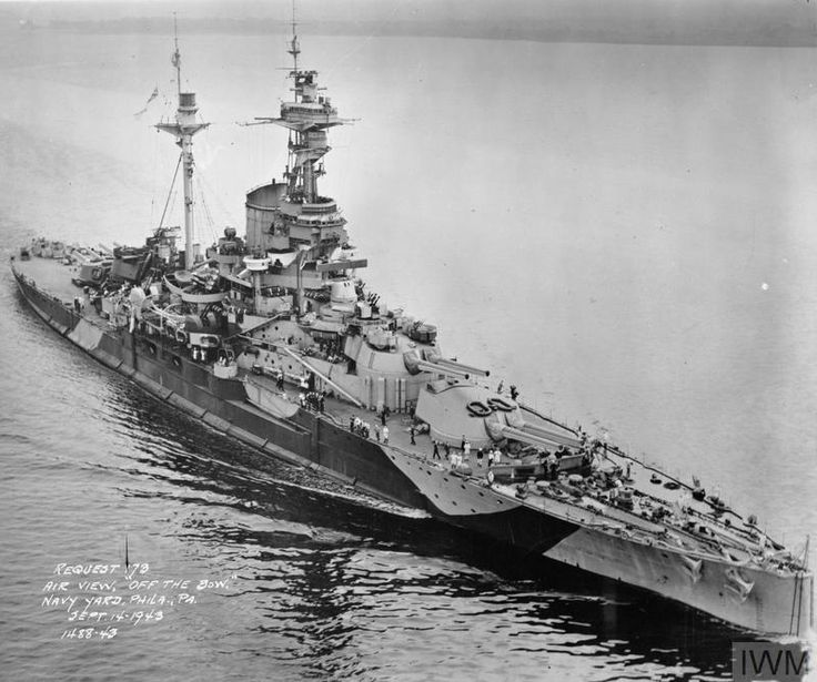Royal Navy R-class battleship Royal Sovereign in 1945, before she was loaned to the Soviet Navy. Source