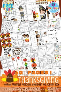 Share this:Printable 60 Page Preschool and Kindergarten Thanksgiving Worksheet and Activity Book 60 pages of Preschool and Kindergarten worksheets and activities Free! I have been pretty excited about this book. I think it is possibly the best one we have put out to date! It isn't quite the largest in size but pretty close. There …