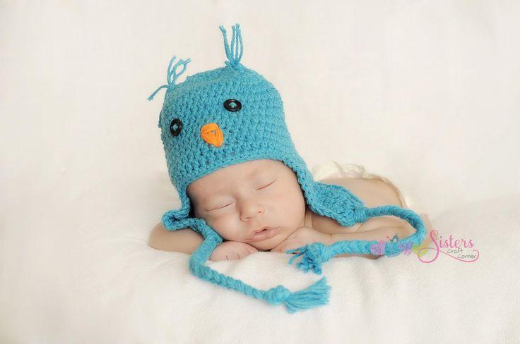 Crochet Baby Bluebird hat - Newborn Bird Hat - Spring Bird Hat - Baby Bluebird Hat - Newborn Photo Prop - Unisex Baby Shower Gift - Boy Girl