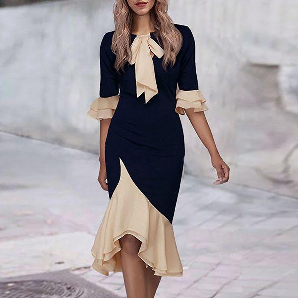 Fashion Color Blocking Ruffle Sleeve Bodycon Dress