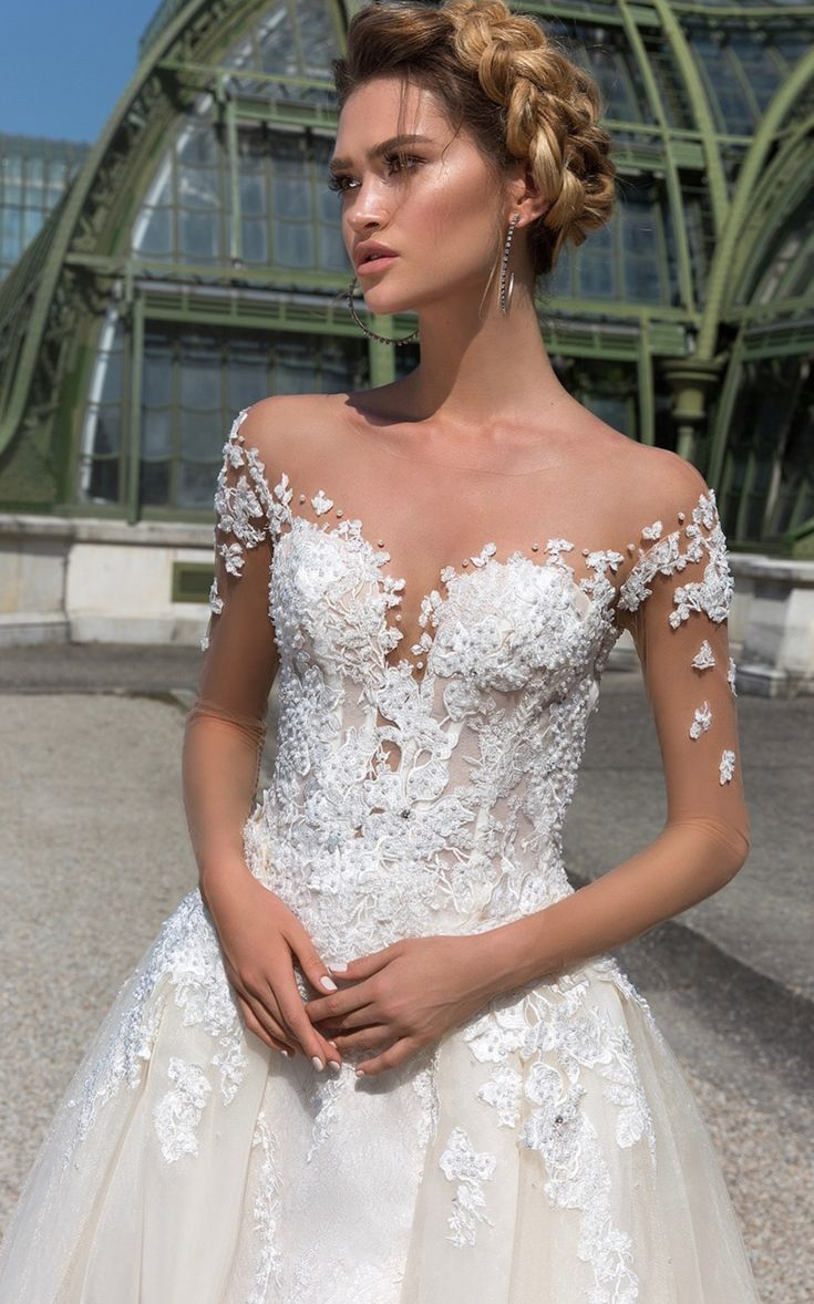 Best 122 Illusion Wedding Gowns Images On Pinterest