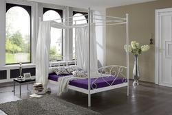 Kovová postel s nebesy Ivana 120x200, bílá