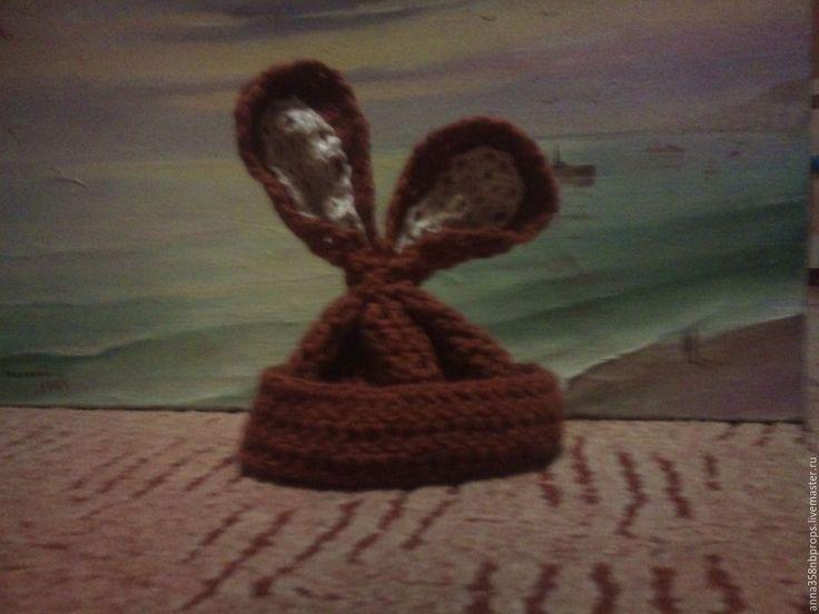 """Купить Шапочка """"Шоколадный заяц"""" - коричневый, однотонный, с ушками, зайка, шоколадный цвет, фотосессия новорожденных"""