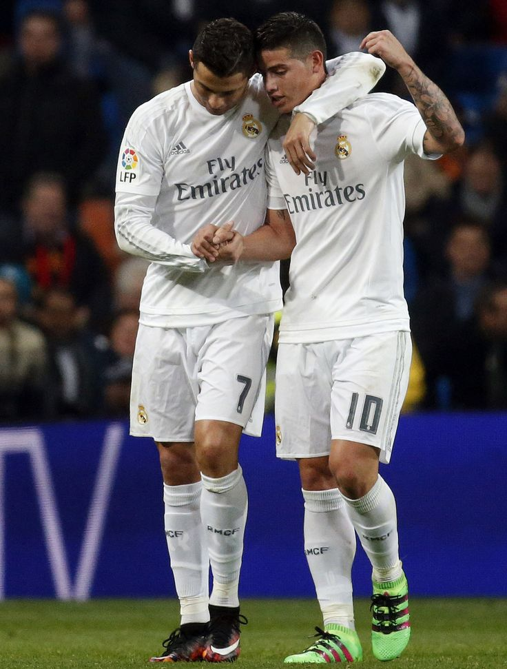 "madridistaforever: "" Cristiano Ronaldo celebrates with James Rodríguez after scoring the team's 4th goal vs Espanyol (January 31, 2016) "" ♥ ♥ ♥"