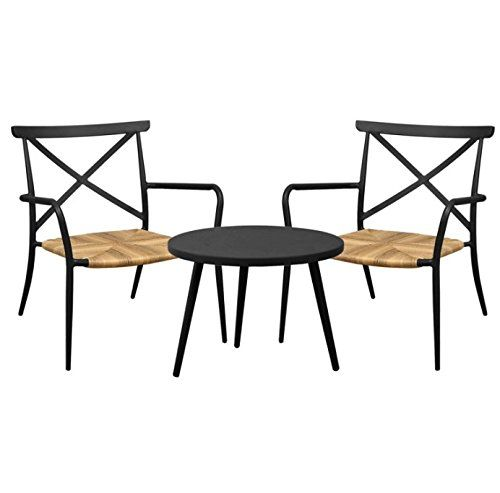 Luxury 3 Piece Bistro Set - Includes 2 Chairs And 1 Round Table - Aluminium And Rattan Construction