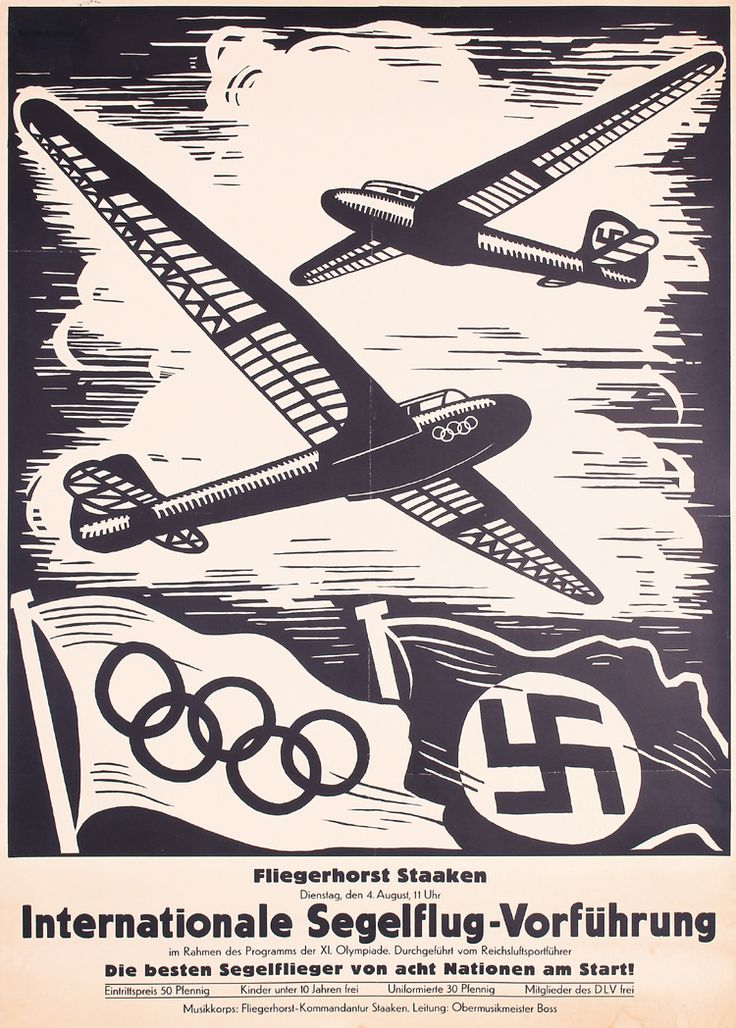 RARE Old 1936 German Olympic Games Aviation Meet Poster