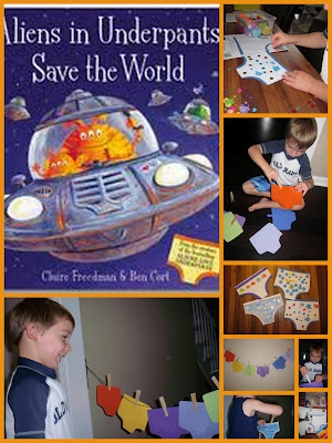 Fine Motor Skills Practice, Name and Letter Recognition, and an Easy Craft for the book Aliens in Underpants Save the World by Claire Freedman