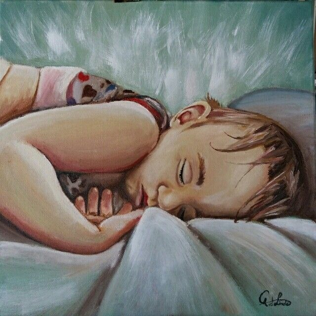 Portrait painting. Sleeping child oil painting. Art by Carina van der Linde