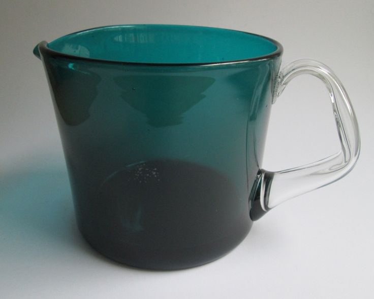 Turquoise glass Rosso pitcher (jug) designed by Nanny Still for Riihimäki Finland by SCALDESIGN on Etsy