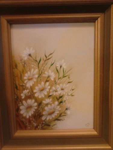 Vintage Beautiful Framed Oil Painting Of Flowers Signed