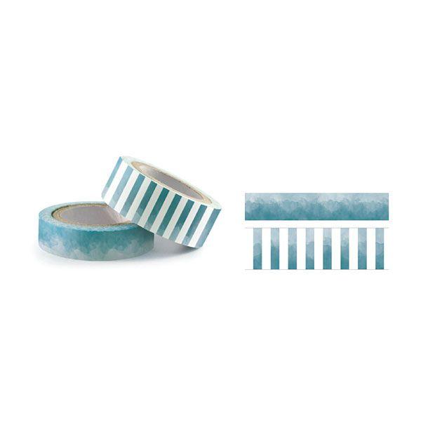 Cantidad : 2 cintas.Tamaños :8 m x 1,5 cm y 8 m x 1 cm.Color : Azul oscuro.
