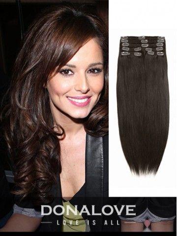 Mittlere Rötlich braun indisch remy clip in hair extensions SD006 - CLIP IN - DonaLoveHair