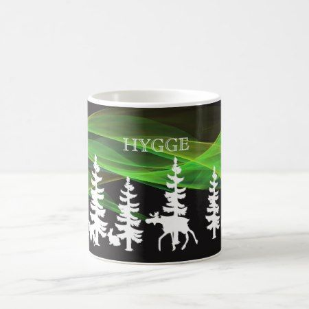 Hygge nordic woods in white with northern lights coffee mug - click to get yours right now!