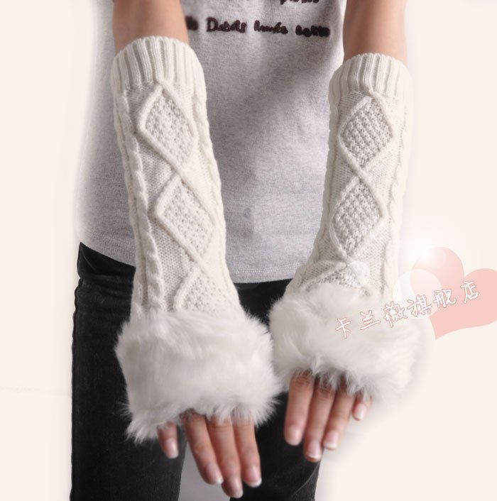 Skin care Fingerless arm Mitten Long Sleeve Gloves Style Long women's braided knit arm Winter warmer fur fingerless gloves