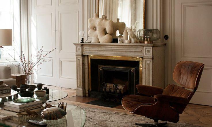 Salon Maison Hand Eames lounge chair Tapis berbère Table Noguchi Pierre Emmanuel Martin et Stéphane Garotin Lyon