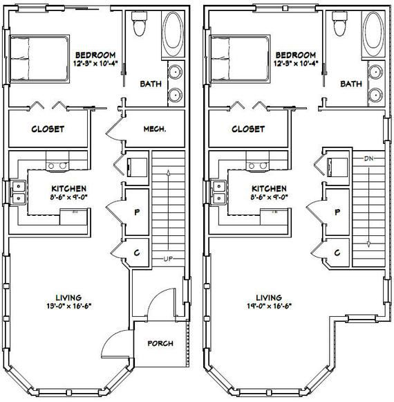 20x42 Duplex 2 Bedroom 2 Bath 1 460 Sq Ft Pdf Floor Plan Instant Download Model 6e Duplex Floor Plans Small Apartment Floor Plans Bungalow Floor Plans