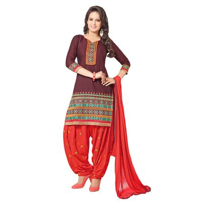 Buy Decent Wears Maroon Cotton Dress Material by Decent Wears, on Paytm, Price: Rs.1150
