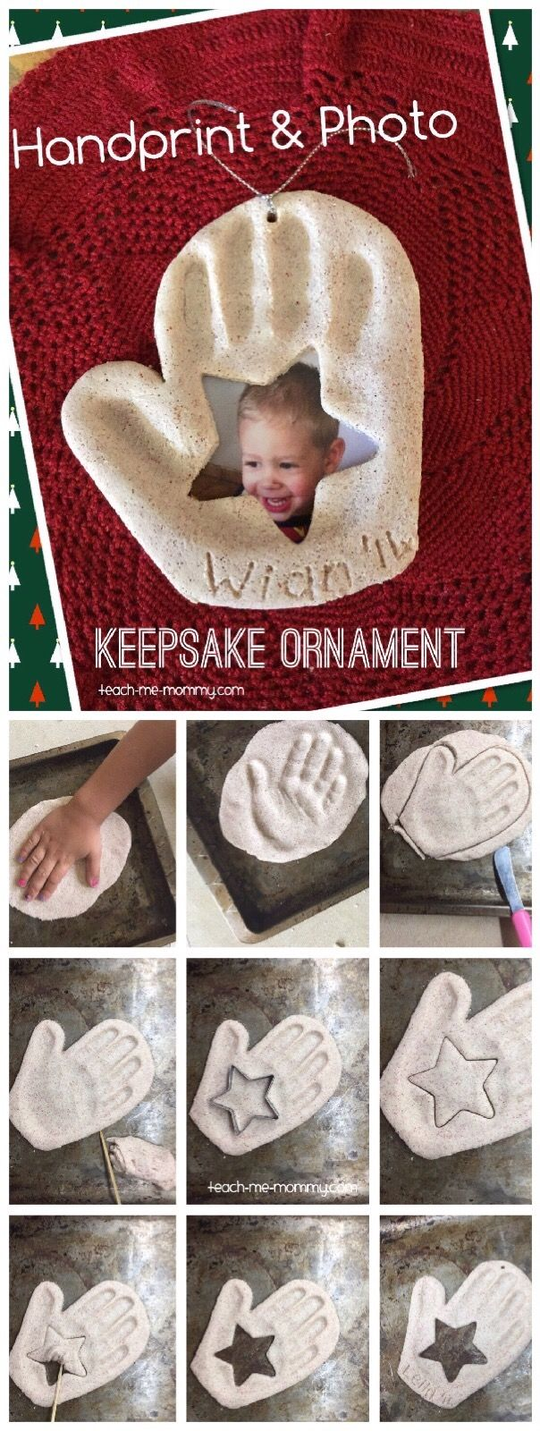 Handprint & Photo Keepsake Ornament. An adorable keepsake you make with salt dough. Great gift idea!