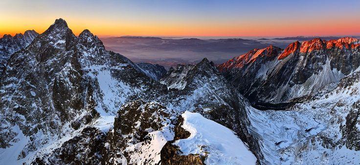 Sunrise on High Tatras from peak Rysy, Slovakia.