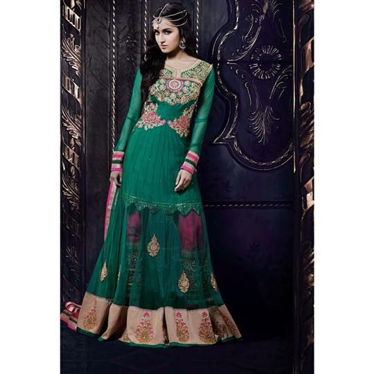 Princely Shraddha Kapoor Green Floor Length Anarkali Suit (ACRN: STAR 1209)  #Wedding @ArtistryC Rs. 5805.00