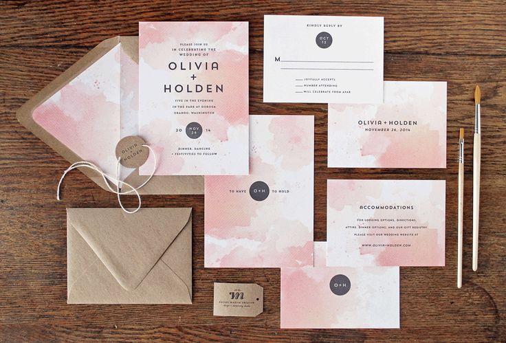 Mod Watercolor Wedding Invitations by Rachel Marvin Creative