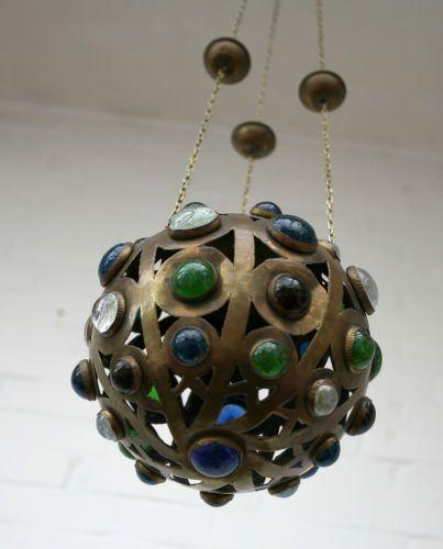 Jugendstil-Ewiges-Licht-Messing-Buntglas-Um-1890-1900-Buckelglas  EUR 280,00