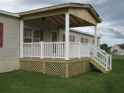 297 best images about mobile home porches on pinterest for Wooden porches for mobile homes