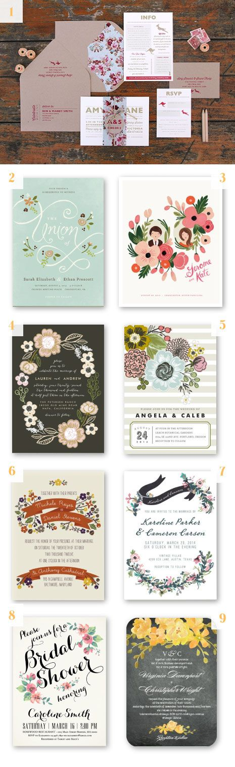 modern floral wedding invitation designs #inspiration #invites
