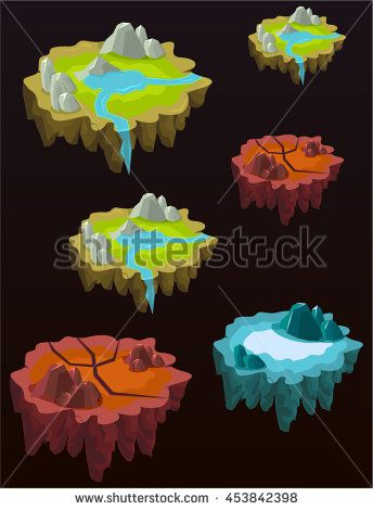 Mobile Game Platforms / Islands Assets - stock vector
