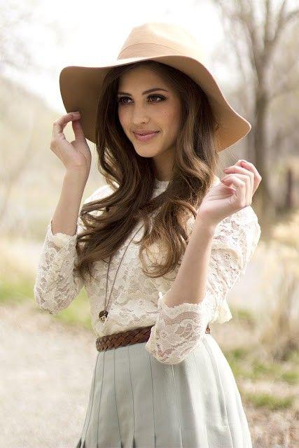 stylish white hat for women, pretty feminine lace top