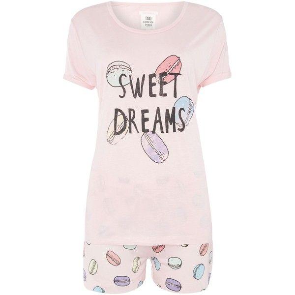 Chelsea Peers Macaroon long sleeve pyjama set (252250 PYG) ❤ liked on Polyvore featuring intimates, sleepwear, pajamas, pink, women, pink sleepwear, long sleeve sleepwear, long sleeve pyjamas, pink pajamas and pink pjs