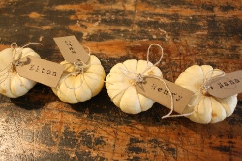 Thanksgiving place cards - I did this last year and also tied on a Godiva Truffle.