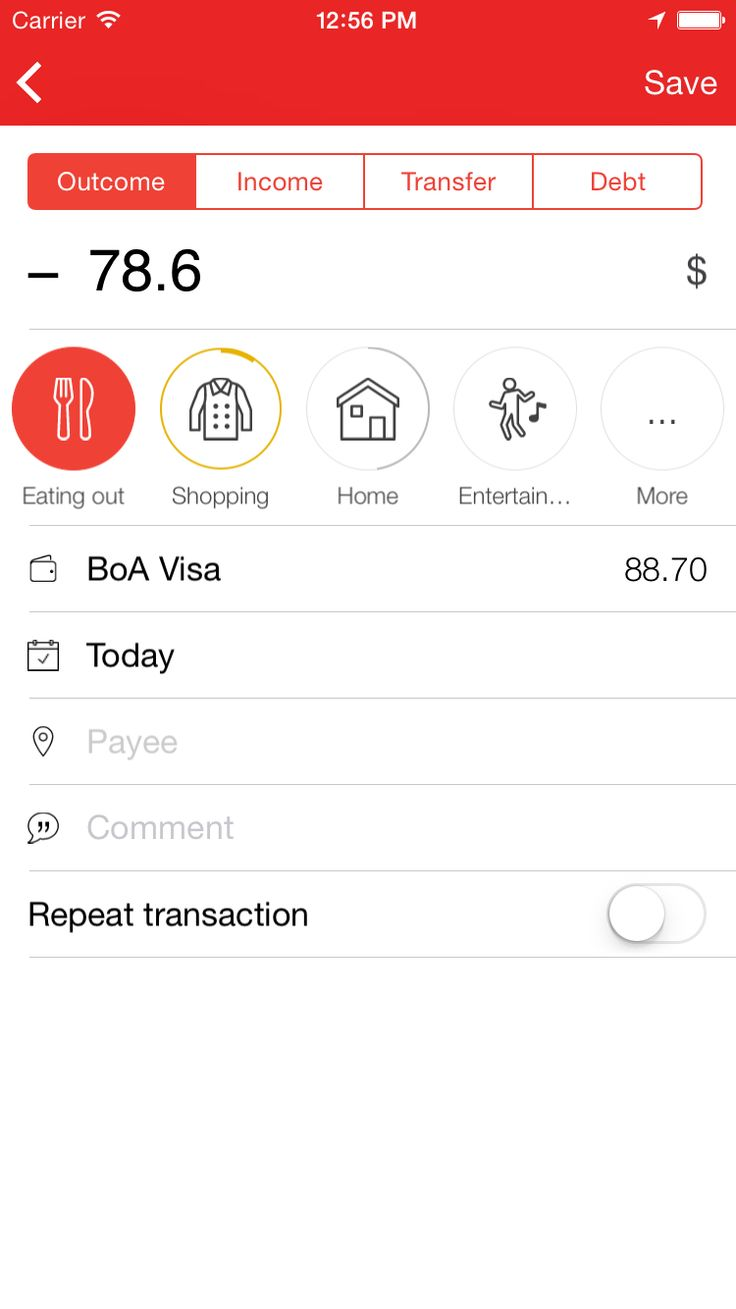 Zenmoney: expense manager. Recognizes text messages from your bank.