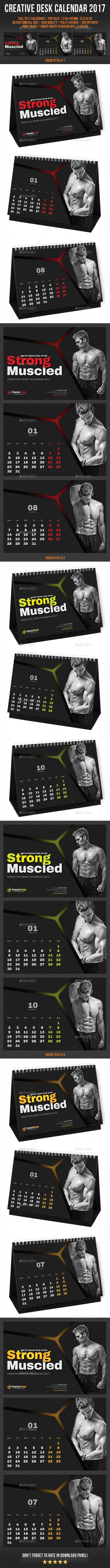 Creative Desk Calendar 2017 Template PSD