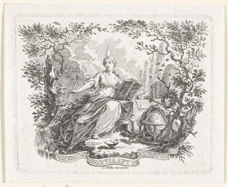 Simon Fokke   Personificatie van de beoefening van de kunsten, Simon Fokke, 1722 - 1784   Een vrouw met een vlam boven haar hoofd houdt een opengeslagen boek en een schrijfveer vast. Naast haar een haan, wereldbol, lier en bazuin op de grond. Op de achtergrond staat een tafel met boeken, een inktpot en een bijenkorf.